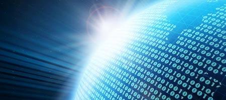 Realidade Digital - Globo Terrestre Representado por números Binários